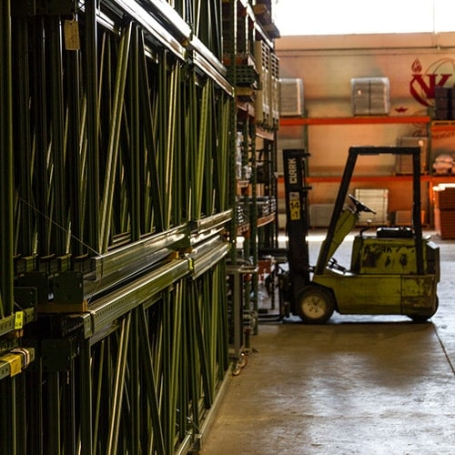 Warehouse full of pallet racking supplies