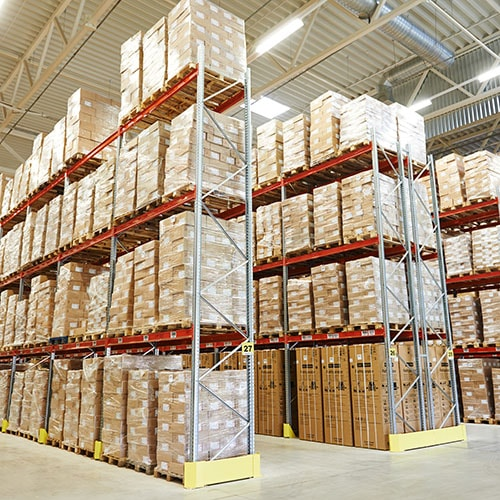 Warehouse with pallet racking in use